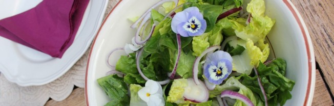 Grønn salat med blomster