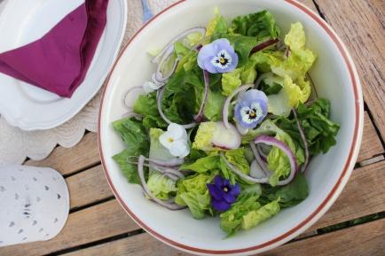 Grønn salat med spiselige blomster